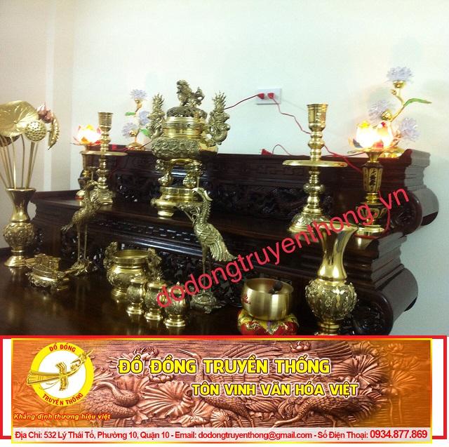 BỘ đồ thờ đồng đại phát cho bàn thờ nhị cấp