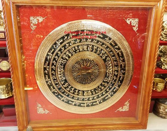 tranh trống đồng mặt 1m đóng khung gỗ tốt