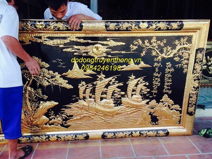 tranh thuyền buồm khung đồng mạ vàng cao cấp