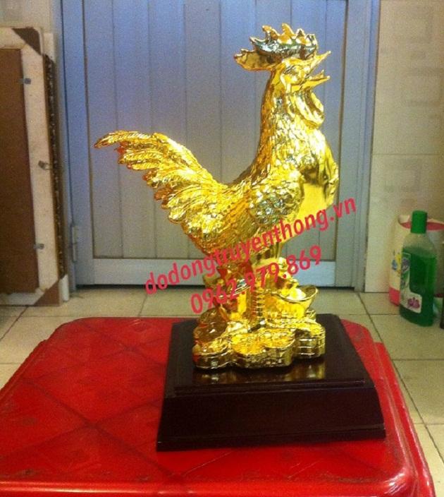 tượng gà chữ phúc mạ vàng