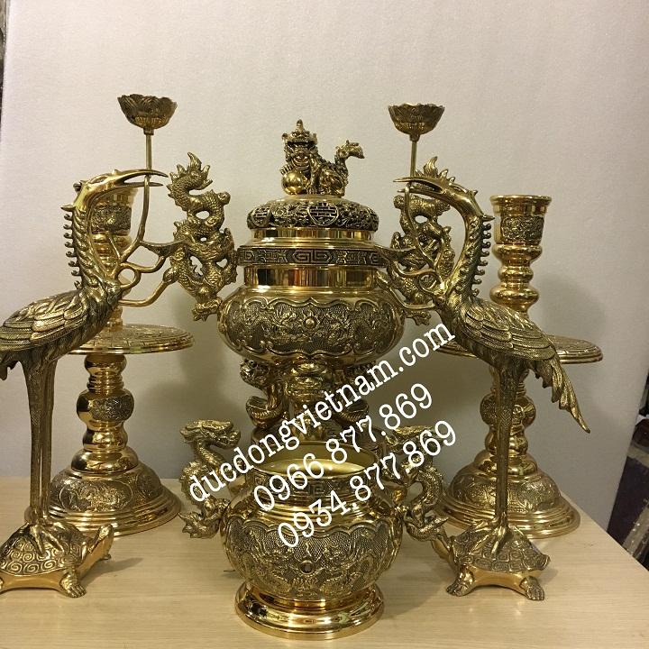 giá bộ lư ngũ sự cao 40 cm cho bàn thờ 1,25m