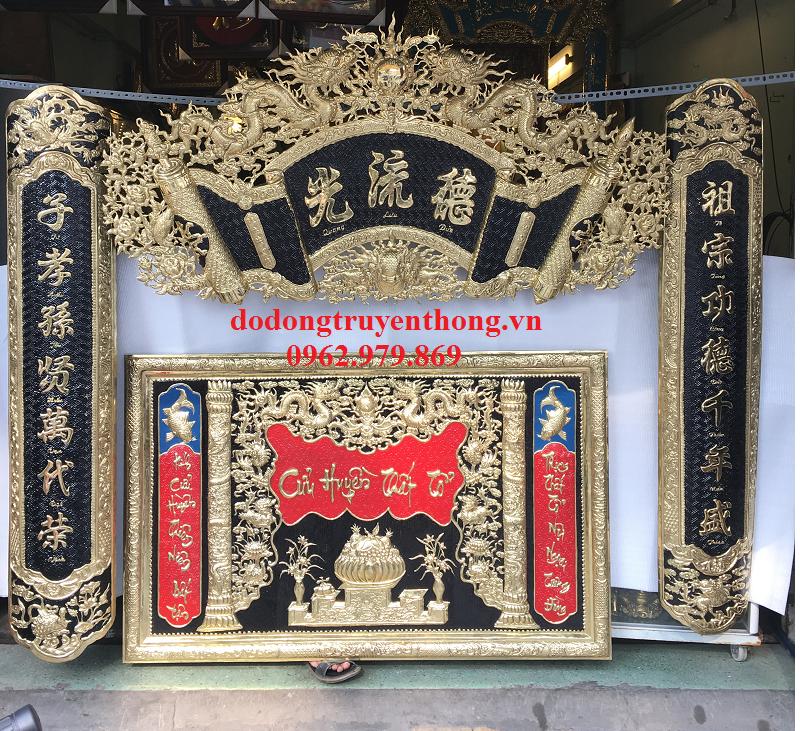 tranh thờ cửu huyền thất tổ và hoành phi câu đối đồng vàng
