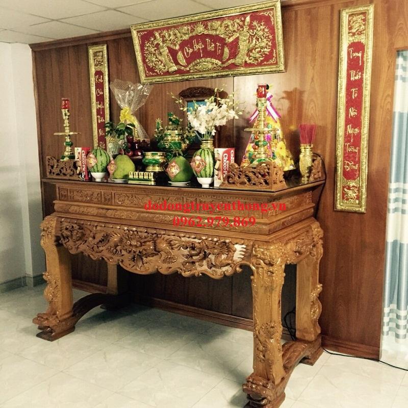 bộ lư đồng đại phát trên bàn thờ gia tiên tại hà nội