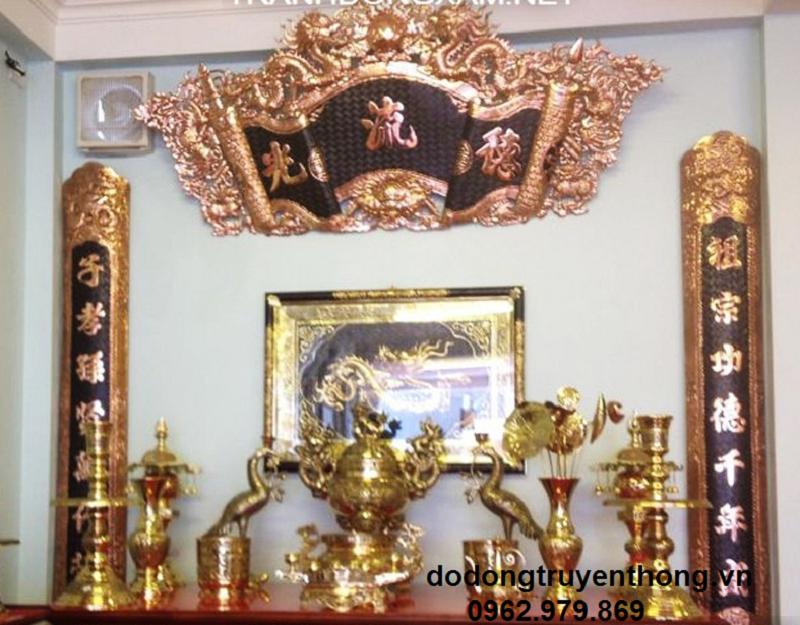 mẫu liễn thờ bằng đồng đỏ đẹp treo bàn thờ tại bình phước