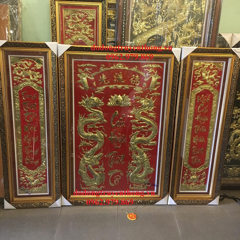 mẫu liễn thờ cửu huyền thất tổ khung gỗ treo bàn thờ cao cấp