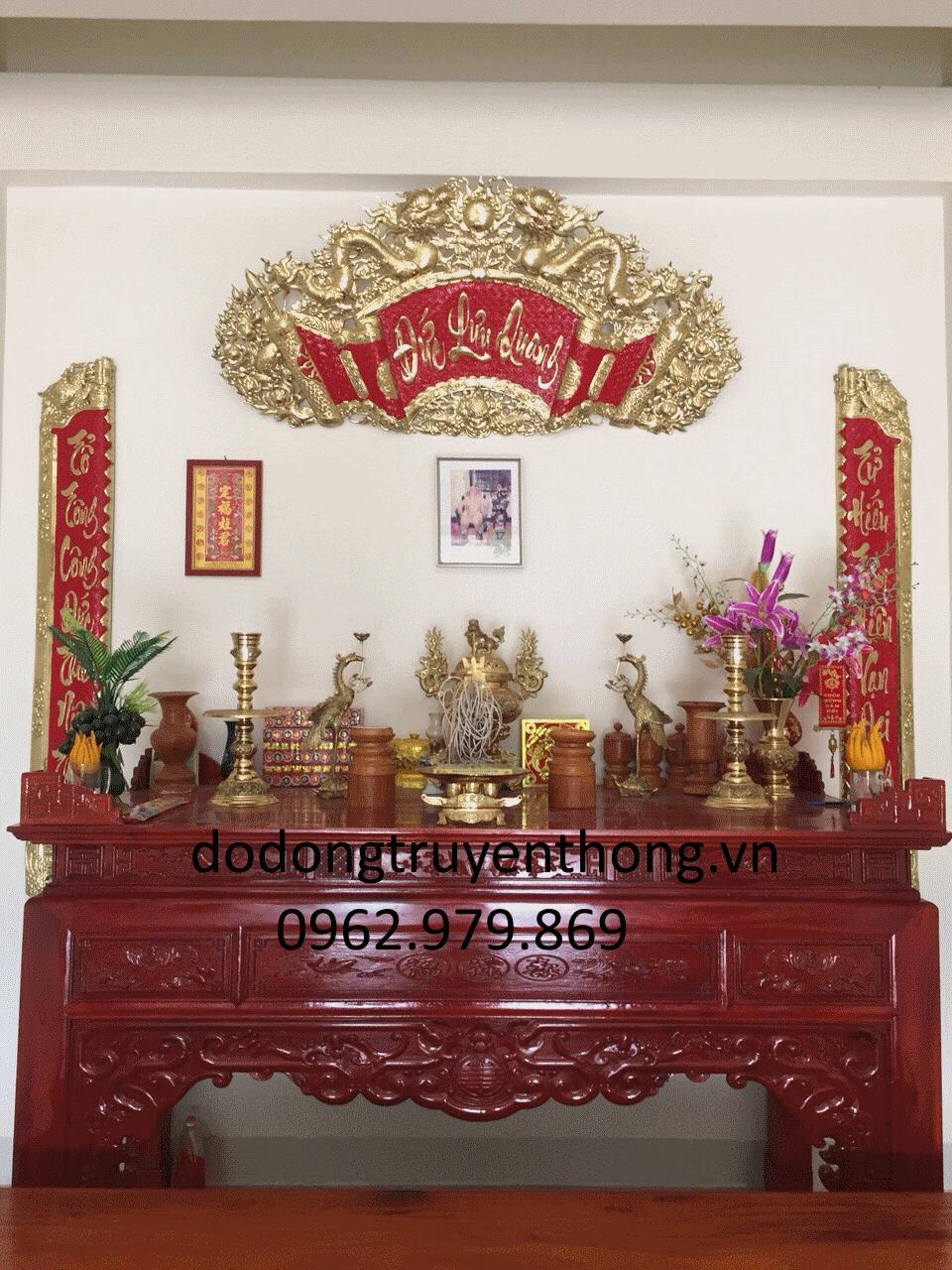 Bộ hoành phi câu đối đức lưu quang 1, 5 5 m cho bàn thờ gia tiên