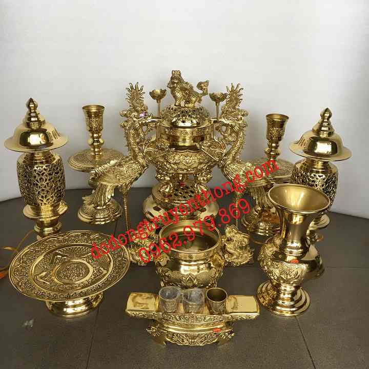 Giá bộ đồ đồng dapha cho bàn thờ 1 ,35 m
